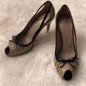 Valentino Caravani Patent Leather Open toed shoe.